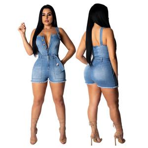 jean barboteuse denim jean denim courte femmes été bouton boutonner spaghetti sangle sans manches au-dessus du genou combinaison vintage tenue