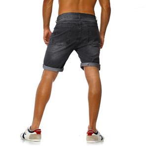 Kot Şort Yaz Erkekler Kısa Jeans Moda Diz Boyu Tasarımcı Delikler Yıkanmış Baskılı Jean pantolon Erkek Gevşek