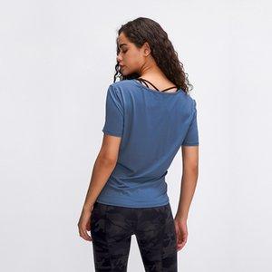 colore yoga Nuovo prodotto LU-02 trasversali brevi signore del manicotto solido era sottile in esecuzione camicia sport casuali ad asciugatura rapida panno di forma fisica di yoga traspirante