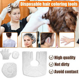 Disposable hair coloring tools four-piece shower cap earmuffs gloves shawl makeup cosmetic accessories