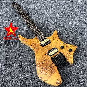 in stock EART headless electric guitar, charcoal grilled maple 5 neck, stainless steel wire, ASH body rotten wood grain. Musical instrume