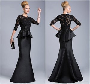 2019 New Black Evening Gowns Sheer Crew High Neck Half Long Sleeves Appliques Lace Beaded Peplum Sheath Formal Dresses Vestido Formales