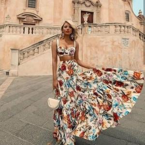 Mujeres sin mangas Bellflower floral del verano vestido maxi de Bohemia Long Beach Sexy vestidos más el tamaño de vestido de 2 pedazos Mujeres