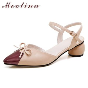Meotina Shoes Women Bow Mid Heel Sandals Pointed Toe Round Heels Buckle Strap Ladies Sandals Summer Apricot Black Big Size 43