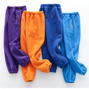 Children Boys Girls Fashion Purple Orange Fleece Pants 2020 Autumn Winter Warm Long Sport Trousers Tracksuit 4 6 8 10 Years Y200704