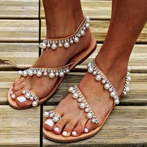 Hot Sale-WISSTT Boho 2019 Hot Summer Bohemia Perle flache Dame Strand Gladiator-Schuhe