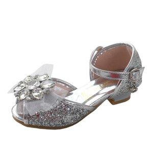 Peep Toe Similicuir haut Sandales à talons fille avec bowknot ShoesSparkling Glitter 502-183