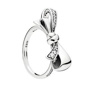 925 Sterling Silber Brilliant Bow Ring Set Original Box für Pandora Frauen Hochzeit CZ Diamant Bowknot Ring