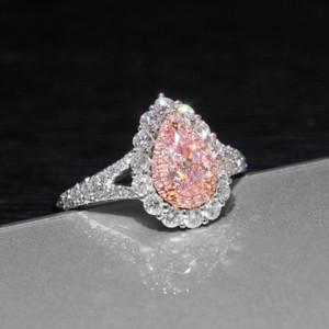 anillo JZ249 Envío libre alta calidad genuina Puls preciosa gota de simulación en forma de rosa de la boda de compromiso Moissanite de la mujer