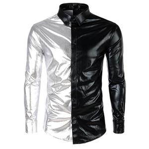 2019 Fashion Men's Metallic Shiny Nightclub New brand Shirt Gold Sliver Patchwork Disco Dance Tops Costume Party Slim Clubwear