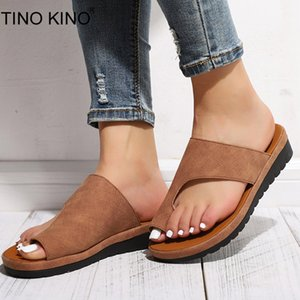 TINO KINO Women Flat Summer Thong Sandals Ladies Casual Soft Big Toe Foot Correction Slippers Orthopedic Bunion Corrector Shoes