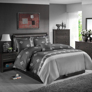 King Size cama Set cinzento clássico elegante edredon 3D cobertura de copa rainha gêmeo completa Individual Duplo Design único jogo de cama