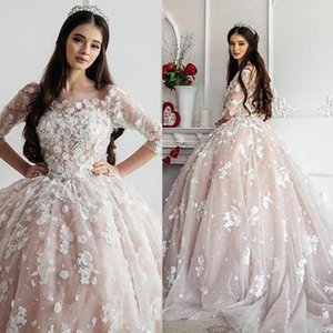 Романтический арабский шампанское шарнирное платье Wdding платья с ручной работы цветы аппликации жемчуг бусины иллюзия с длинными рукавами принцессы свадебные платья