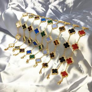 Encanto de la cadena de pulsera suerte flor femenina S925 plata de oro rosa trébol de cuatro hojas ágata de la piedra preciosa Muñequera joyería y accesorios