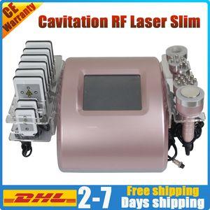 Cavitation Lipolaser 뚱뚱한 손실 초음파 RF 진공 피부 강화 팻 블라스팅 바디 조각 셀룰 라이트 제거 무선 주파수 슬리밍