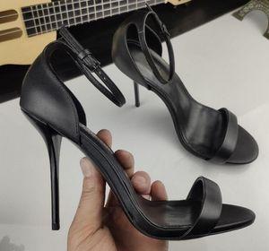 [Orignal Box] A Word With Womens High Heels 105MM Ladies Slingbacks Sheepskin Summer Breathe Buckle Strap Shoes 35-41