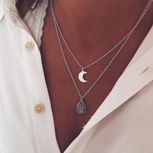 Bohemian Moon Collar Colgante para Mujer Vinatge Multi-Layer Moon Shape Collar Gargantilla