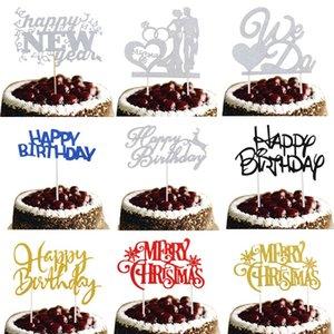 Ucuz Dekorasyon Yeni Geliş Kek Toperler Biz Do Doğdun Merry Christmas Gelin Kek Bayrak Doğum Düğün Yılbaşı Partisi Malzemeleri