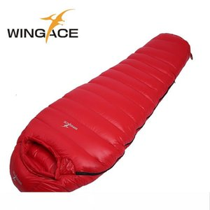 WINGACE 220CM مومياء حقيبة النوم خفيفة التعبئة 600G بطة أسفل أكياس النوم للسياحة المشي لمسافات طويلة في الهواء الطلق التخييم حقيبة النوم