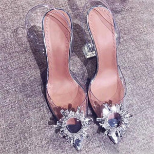 Women's luxury transparent sandals with pointed toes summer 2020 new word with water diamond High Quality sexy baotou heels