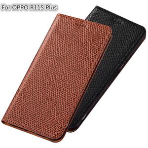 Cassa del telefono magnetico in vera pelle QX04 per OPPO R11S Plus Custodia per OPPO R11S più custodia a scatto con slot per schede