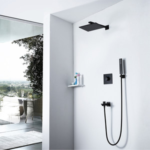 Home Improvement Bathroom Faucet Black Set Hot And Cold Mixing Valve Shower Tap Brass Rianfall Shower System Concealed Mixer
