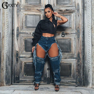 GBYXTY Sexy Holes Ripped Fringe Jeans Femmes Streetwear taille haute Washed Distressed Pantalon droit Tassel Denim Pantalons ZL822
