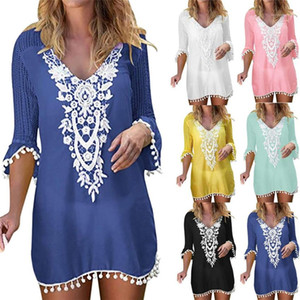Ladies Dresses Summer Lace Patchwork Hollow Beach Dress Women Swimwear Tassel Puff Sleeve Cover Up Beach Wear V Neck Sexy