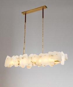 Modern Luxury marmo lungo rame dell'oro Lampadario Art salone della casa di luce del pendente Decoration Fixture PA0623