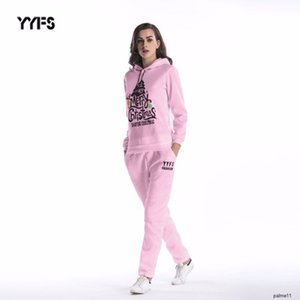 women designer Two-piece suit Christmas tree print loose hooded sweater pants womenH