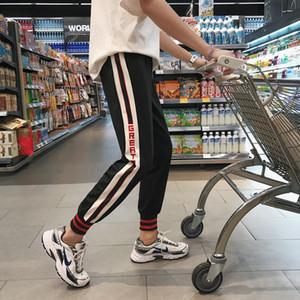 2019 Yeni Erkekler Pantolon Moda Patchwork erkek Eşofman Rahat Renk Blok Güz Tam Boy Orta Bel Mikro-Elastik Kalem Pantolon