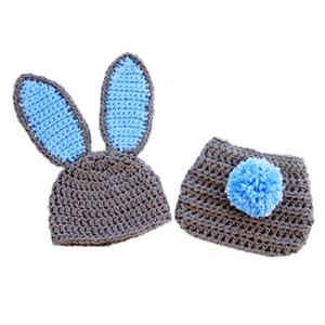 Yenidoğan Gri Paskalya Bunny Kıyafet, El Yapımı Örgü Tığ Erkek Bebek Kız Tavşan Bunny Şapka ve Bezi Kapak Seti, Bebek Fotoğraf Prop