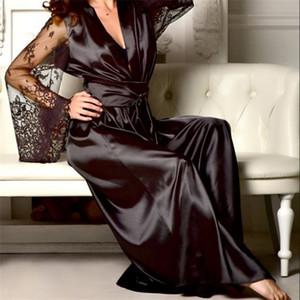 Kadın Pijama Moda Sexy Lingerie Kadınlar Ipek Dantel Elbise Babydoll Nightdress Nightgown Yaz
