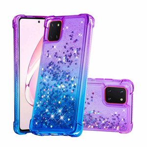 Bling Glitter Coque dynamique antichoc pour Samsung Galaxy A81 Femmes Case TPU Sam. S20 Ultra A51 A91 A01 S10 Plus
