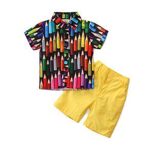 Short Sleeve Boy's Set Printed Shirt+pant Summer Kids 2pcs Set Fashion Gentry Children Suits 80 90 100 110 120