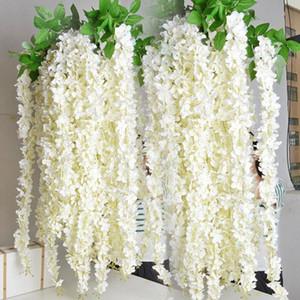 Wisteria blanco Garland Flores colgantes 5pcs para la ceremonia de boda al aire libre planta falsa decoración Seda Wisteria Viña Arco de la boda decoración floral