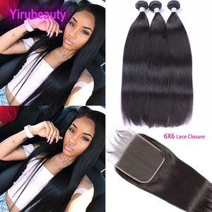 Перуанские прямые пакеты волос с закрытием yiroubeauty Перуанские ременные волосы с замыканием человеческие волосы плетение 3 пакета с 6x6 кружевной закрытием