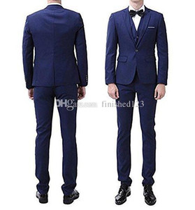 New Popular One Button Blue Groom Tuxedos Notch Lapel Men Suits Wedding Prom Dinner Best Man Blazer (Jacket+Pants+Vest+Tie) W229