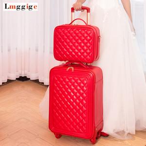 Equipaje y bolso de mano, juego de maletas de 20 pulgadas, estuche de viaje rojo, bolsa de viaje con ruedas, carrito de ruedas universal, caja de 59 * 38 * 21 cm