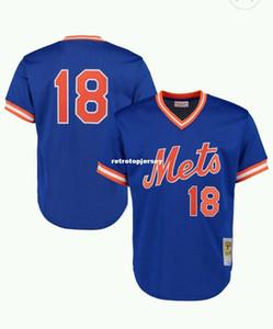 Ucuz YENI MITCHELL NESS New York # 18 Çilek Vuruş PRATIK MESH JERSEY Gerileme Mens Erkek dikişli beyzbol formaları