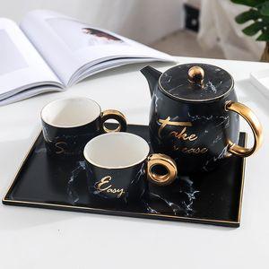 Teiera in ceramica da 900 ml Teiera in marmo da due pezzi Tazze da 180 ml Tazze con vassoio da tè set da tè Regalo
