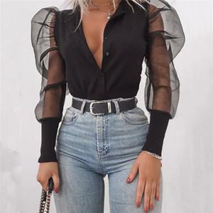 패션 새로운 여성의 V 넥 블라우스 얇은 명주 그물 주름 롱 퍼프 소매 셔츠 솔리드 레이디 셔츠 가을 여성 탑 모든 일치