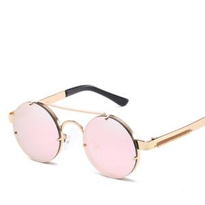 All'ingrosso-Moda Occhiali da sole rotondi Uomini Donne Progettista di marca Vintage Steampunk Occhiali da sole in metallo per uomo Donna Maschio gafas oculos de sol