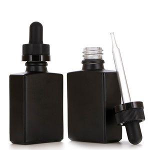 30ml 블랙 서리로 덥은 유리 액체 시약 피펫 드롭퍼 병 광장 에센셜 오일 향수 병 연기 오일 e 액체 병