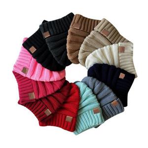 INS 12 cores bebê crianças inverno manter aquecido cc gorro Rotulagem chapéus de lã crânio malha chapéu designer de tampas de esportes ao ar livre