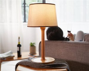 American retro living room lamp modern minimalist wooden fabric table lamp fashion creative study bedside bedroom LED table lamp