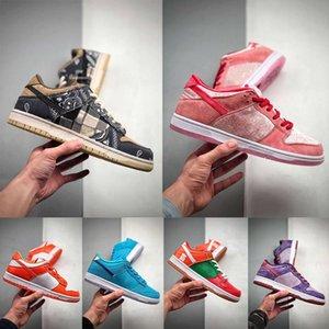 SB x Travis Scott Dunk Low QS Plum Sneaker Cactus Jack Blue Orange Fúria Meninas Júnior Big Crianças Strangelove Preto Vermelho US7 Onze Shoes
