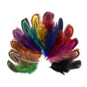 Decoração 6-10cm Faisão Feather DIY Acessórios Pássaro Colorido Pintado Feather Woven Pena Fã Partido material mão 100pcs / lot T3I5834
