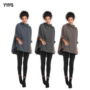 Womens Spring New European and American Turtleneck Irregular Cloak Jacket Bat Sleeve Sweater Women