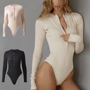 Solid Color Long Sleeve Top Jumpsuit Buttton Bust Siamese Trousers T Shirt Underwear Fashion Women Clothes drop ship